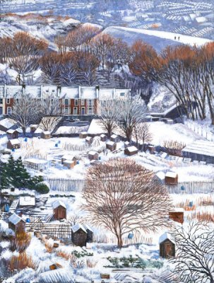 Allotments in Snow (Large)